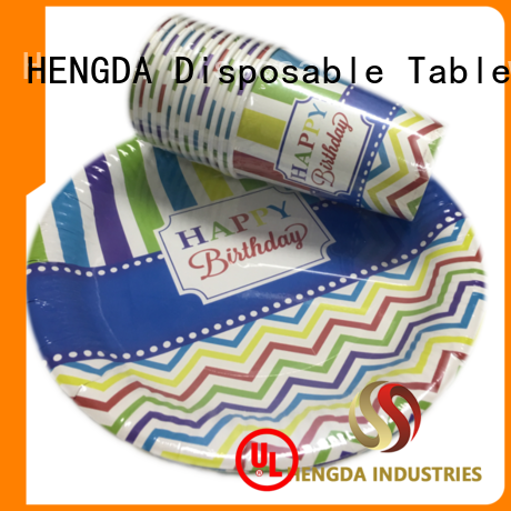 Quality HENGDA Disposable Tableware Brand quality paper plates hotstamping