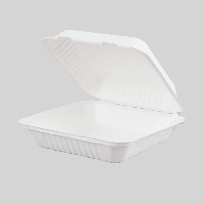 Biodegradable and Compostable Sugarcane Bagasse Hinged Container