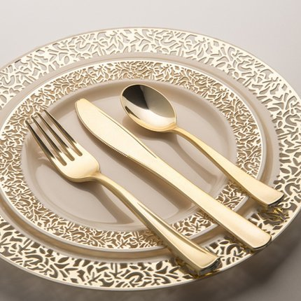 HENGDA Disposable Tableware Brand with silver gold rim design wedding elegant custom elegant wedding plates