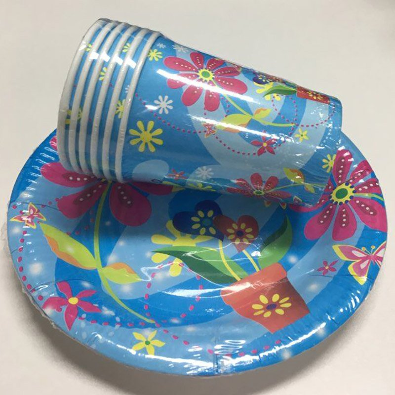 Party Disposable Colored Paper Plates and Cup Set
