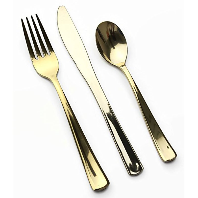 HENGDA Disposable Tableware DM-2KFS Silver and Gold Plastic Cutlery Elegant Disposable Dinnerware image5