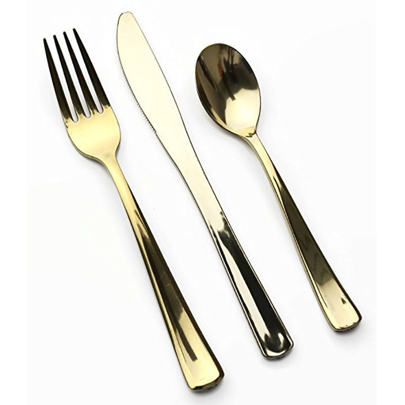 DM-2KFS Silver and Gold Plastic Cutlery