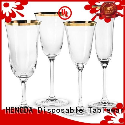 HENGDA Disposable Tableware Brand party with silver gold rim design plastic elegant wedding plates wedding